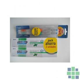 Fluor Kin anticaries pack ahorro 2 ud+ 2 cepillos medios